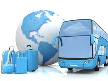Bus traffic with a globe and luggage Stock Photos