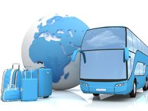 Bus traffic with a globe and luggage Stock Images