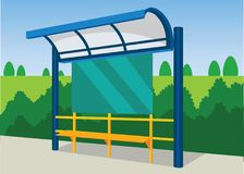 Bus and Train Halte Mass Transportation Vector Illustration. Use for many purpose such infographic, poster, illustration, website, social media, blog, etc. EPS stock illustration