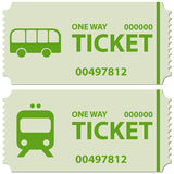 Bus and train tickets. Illustration of bus and train tickets with text ' ticket, one way ' in uppercase green letters on a cream background and including Stock Image