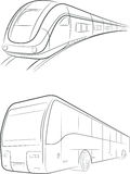 Bus & Train Vector Outline Royalty Free Stock Photos