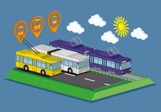 Bus, tram en karretje royalty-vrije illustratie