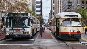 Bus and Tram Wait in SF Royalty Free Stock Photography