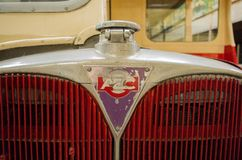 Bus and transport museum. Bus garage,transport museum,Semantic Information  Title:buses Note to editor: Keywords:bus, buses, transport, garage, public Royalty Free Stock Photo