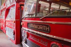 Bus and transport museum. Bus garage,transport museum,Semantic Information  Title:buses Note to editor: Keywords:bus, buses, transport, garage, public Stock Photos