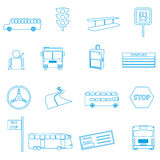 Bus transport simple outline icons set Royalty Free Stock Photos