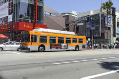 Bus transportation in Los Angeles. A shot of a bus in los angeles california Royalty Free Stock Images