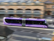 Bus Travel. City bus with added motion blur Royalty Free Stock Photo