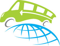 Bus travel. A bus travel around whole world illustration vector illustration