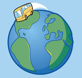 Bus travel. Around the world Royalty Free Illustration