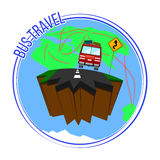 Bus travel around the world. Vector illustration. Stock Image