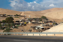 Bus Travel Bedouin village. Stock Photo