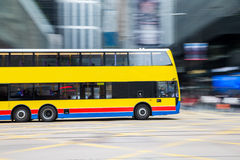 Bus travel with Blurred Motion at Central of Hong Kong Royalty Free Stock Image