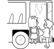 BUS TRAVEL CHILDREN. Black and white Royalty Free Stock Photography