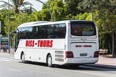 Bus travel companies BISS TOURS on the streets of the city Llor. Spain, Lloret de Mar-September 22, 2017: Bus of BISS TOURS travel company. The company provides Stock Photography