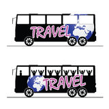 Bus travel happy color vector Royalty Free Stock Photo