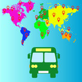 Bus travel. Map Landmass and transportation icon great for any use. Royalty Free Stock Photography
