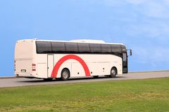 Bus travel speed sky blue. A bus travel speed sky blue Royalty Free Stock Image