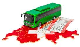 Bus travel in Switzerland, concept. 3D rendering stock photos
