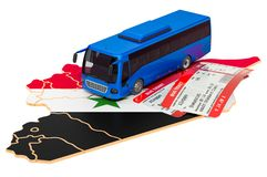 Bus travel in Syria, concept. 3D rendering royalty free stock image