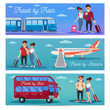 Bus Travel. Train Travel. Airplane Travel. Travel Banner Stock Photography