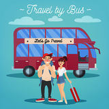 Bus Travel. Travel Banner. Active People Royalty Free Stock Image