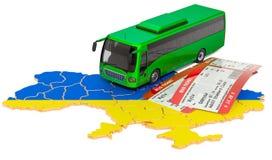 Bus travel in Ukraine, concept. 3D rendering royalty free stock photos