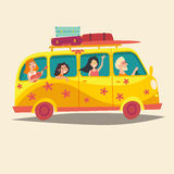 Bus, traveling happy people. Hippie camper bus. Tourism, cartoon character young hippie Royalty Free Stock Image