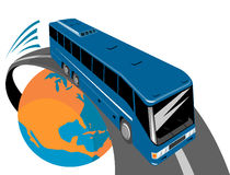Bus traveling off the globe Royalty Free Stock Photography