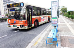 Bus travels in Hiroshima city Royalty Free Stock Photos