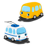 Bus and trolley bus. Funny cartoon yellow bus and white trolley bus on the road Stock Image
