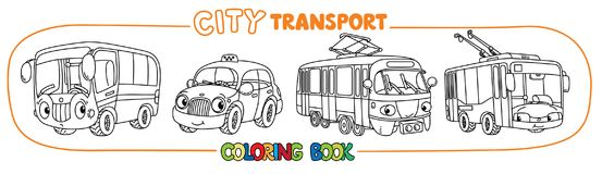 Funny small city transport with eyes coloring book. Bus, trolley or trolleybus, tram, and taxi. Small funny vector cute cars with eyes and mouth. Coloring book Stock Images