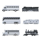 Bus truck and train set Royalty Free Stock Images
