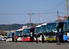 Bus turistici alla stazione a Kyoto, Giappone Fotografie Stock Libere da Diritti