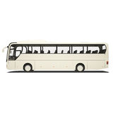 Bus turistico bianco isolato Fotografie Stock Libere da Diritti