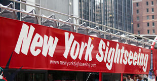 Bus turistico a New York City Fotografia Stock