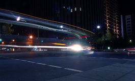 Bus Turning. Corner on busy interesection stock photos
