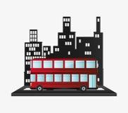Bus two storied tourist transport urban background Royalty Free Stock Photos