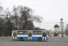 Bus. A typical old bus for public transport in the city of Chisinau, Moldova stock image