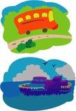 Bus und Boot Stockfotografie