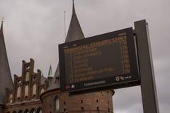 Bus unterzeichnen herein Lübeck Lizenzfreies Stockfoto
