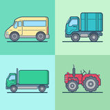 Bus Van Lorry Tractor road transport set. Linear m Stock Photo
