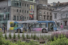 Bus in vecchio Monteal Fotografia Stock Libera da Diritti