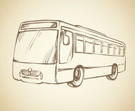 Bus. Vector drawing. City bus in ink sketch freehand drawing style. Modern charabanc vector illustration may be used for web, prints or emblem design. Freehand Royalty Free Stock Image
