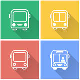 Bus - vector icon. Bus vector icon with long shadow. White illustration isolated on color background for graphic and web design Stock Photo