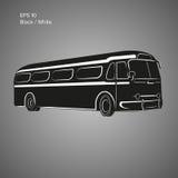 Bus-Vektorillustration der alten Weinlese amerikanische Retro- Personenkraftwagen Stockbild