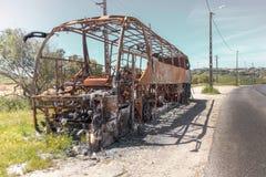Bus vernietigd Portugal royalty-vrije stock afbeeldingen