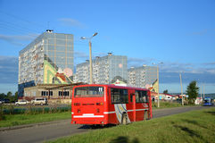 Bus, viaggiante a Komsomol'sk-na-Amure Fotografia Stock Libera da Diritti