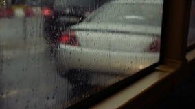 Bus Window on a Rainy Day stock footage