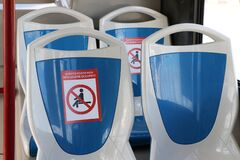 Free Bus With Seat Restriction Due To The Covid-19 Stock Photos - 186559603
